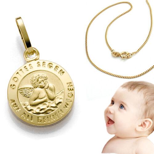 Echt Gold 585 Engel Zur Heiligen Taufe Gottes Segen auf all deinen Wegen /& Kette