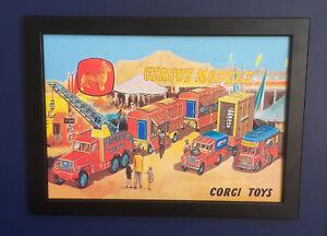 Corgi-Toys-Chipperfields-Circus-decada-de-1960-Poster-enmarcado-tamano-A4-FOLLETO-signo-de-tienda