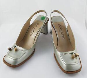 1035aeddf140 Louis Vuitton Ladies Shoes Pump Silver Leather Size 6.5