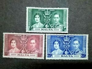 1937 Malta King George V Coronation Complete Set Error Variety Printing - 3v MLH