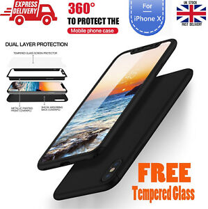 New-HARD-HYBRID-360-CASE-WITH-Bubble-Free-TEMPERED-GLASS-for-Apple-iPhone-X-10