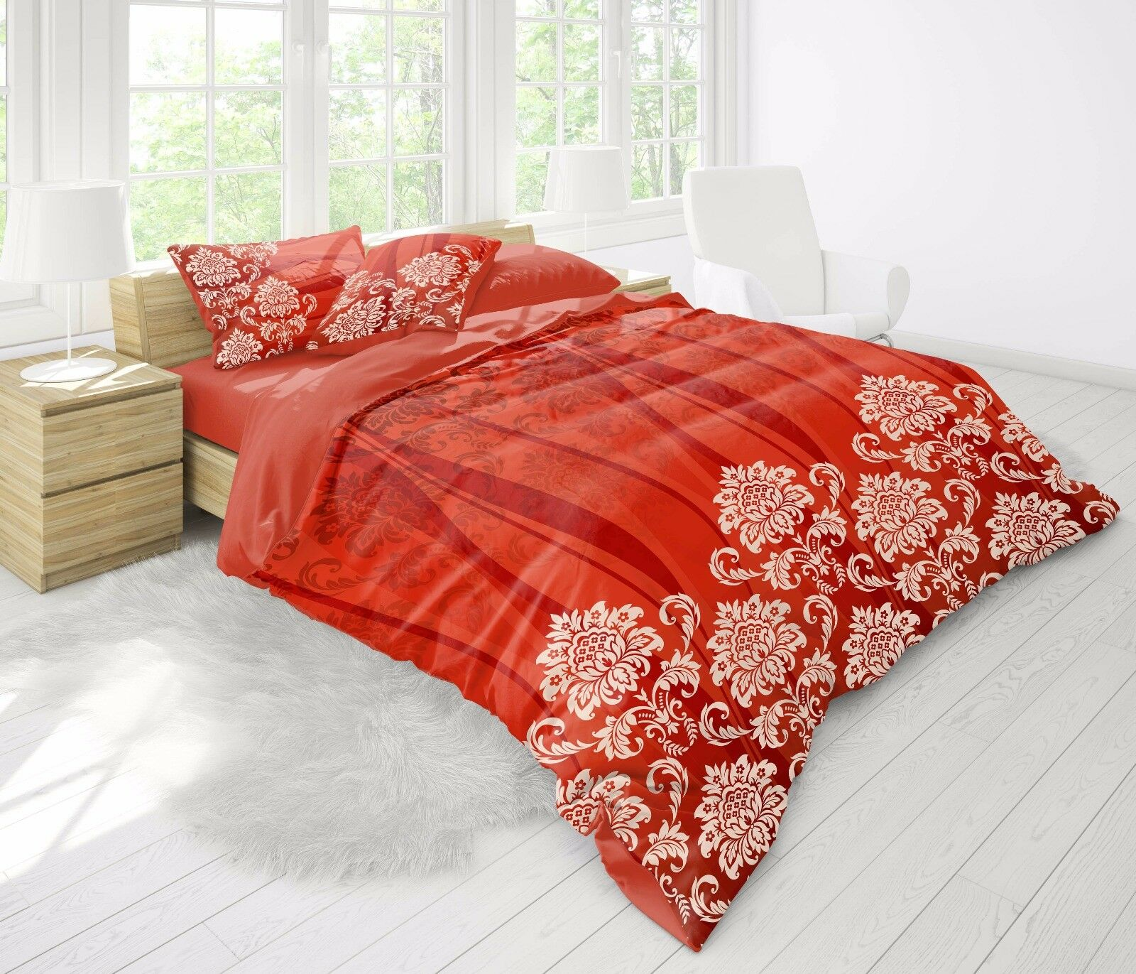 Bettwäsche 3D 220x240 cm Bettgarnitur Bettbezug 100% Baumwolle Kissen 6 tlg MOWE