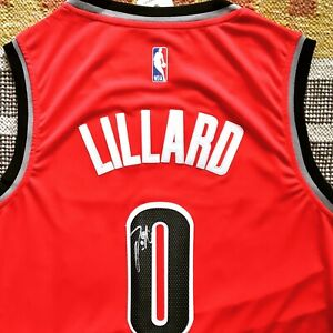 the best attitude 02d30 5daf5 Details about Damian Lillard Signed Autograph Portland Trail Blazers Jersey  NBA PROOF