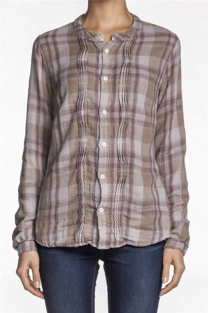 CP Shades Lizzne Plaid Shirt lila Long Sleeve lila braun Button down NEW Top