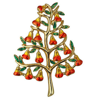 NEW KIRKS FOLLY PEAR TREE PIN  GOLDTONE