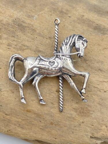 925 Jezlaine Carousel Horse Pendant Charm on 925 Sterling Silver Chain