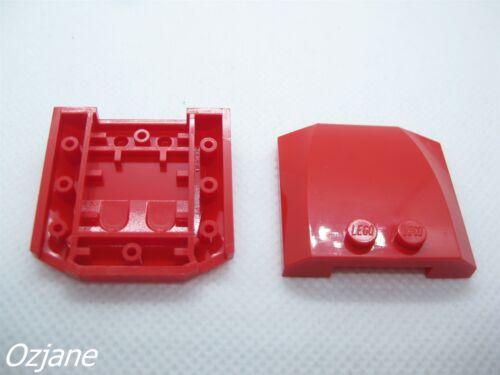 Lego parte 45677 Cuña de 4 X 4 X 2//3 vehículo Sombrero Rojo X2 PC