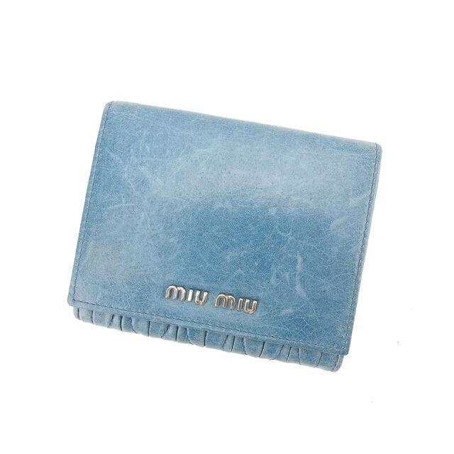 miumiu Wallet Purse Trifold Materasse Blue Silver Woman Authentic Used L771