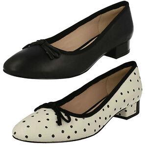Clarks-para-Mujer-Elegantes-sin-Cordones-en-Punta-Zapatos-de-Salon-Cuero