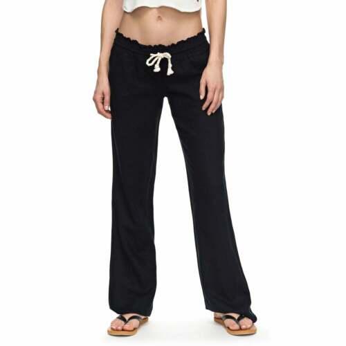 Roxy Oceanside LINO PANTS Pantaloni da donna-Nero VERA tutte le taglie