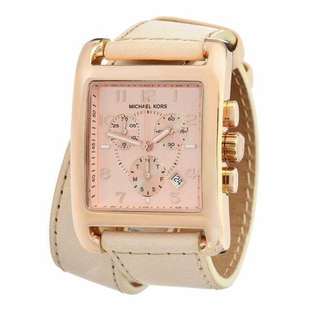 f3786bd493c0 Michael Kors Rosegold Vachetta Chronograph Leather Band Watch MK2225   Tag