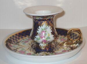 Handleuchter-Nachtleuchter-Kerzenhalter-Nachttischleuchter-Porzellan-Rosendekor