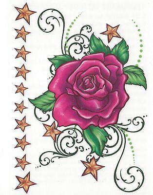 Small sheet tats bright pink Rose Temporary Tattoo NEW!