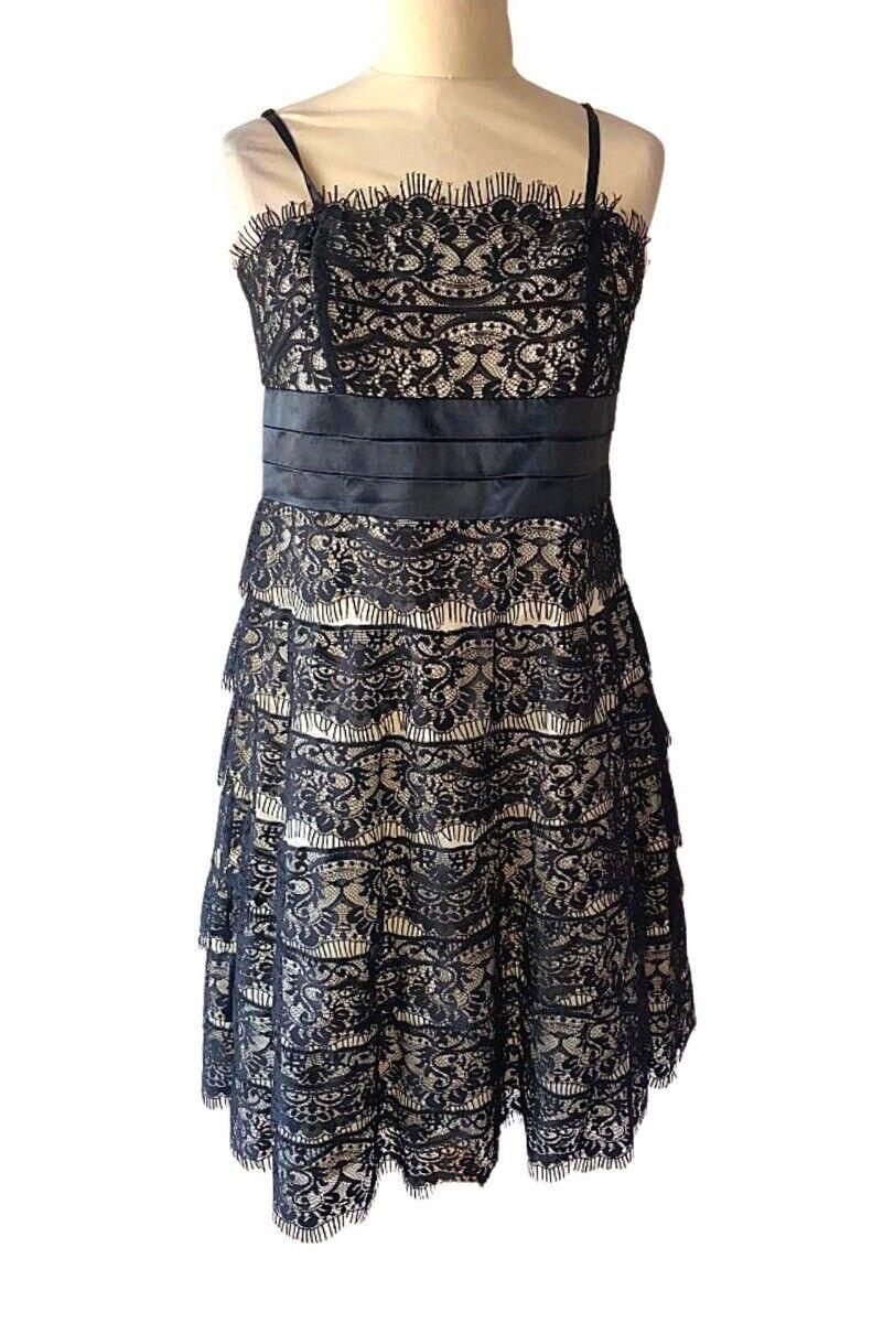 Debut White Black Lace Dress - Size UK14