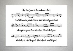 Details About Jeff Buckley Hallelujah Song Sheet Print Poster Art