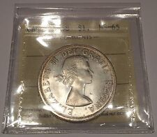 GEM / 1958 Canadian Silver Dollar ICCS MS65, Nice Coin. Trends $500.00.