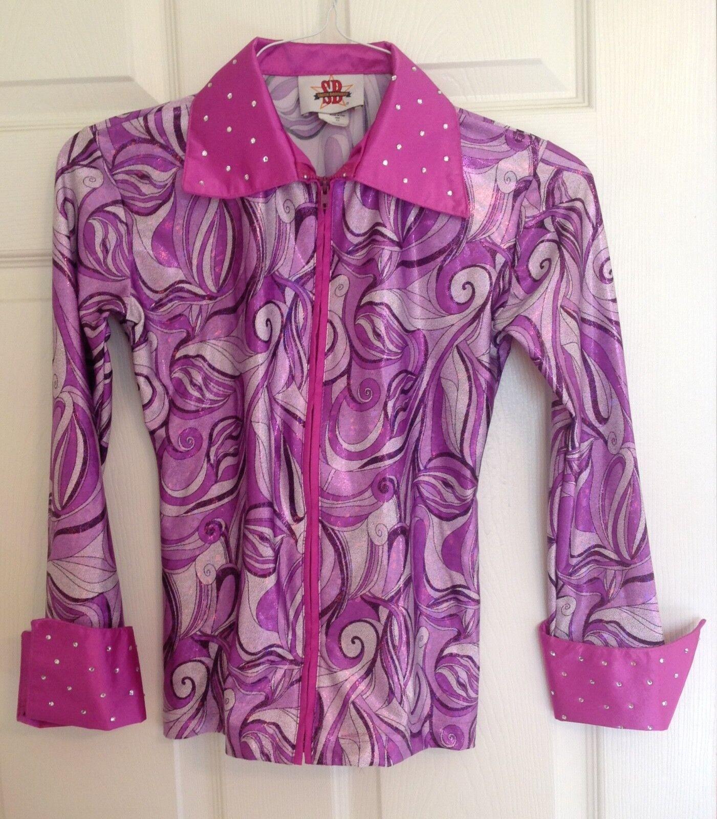 Smith Bredhers Equestrian Show Shirt  Purple Swirl W Rhinestones Women's XS NWOT  100% authentic