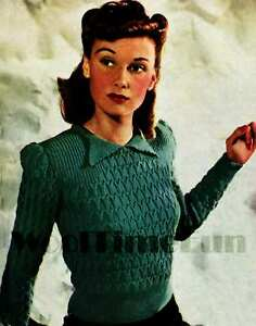 5661896ab576 Knitting Pattern Lady s Vintage 1940s Jumper. 4Ply Yarn. Long or ...
