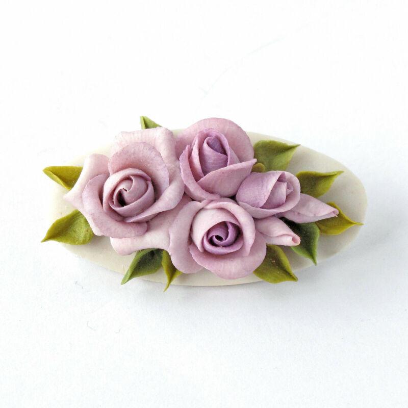 Lilac Rose Bouquet Medallion Brooch Corsage Wedding Flower Boutonniere Lapel Pin