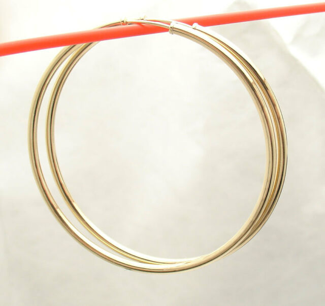 2mm X 50mm 2 Plain Shiny Endless Hoop Earrings Real 14k Yellow Gold