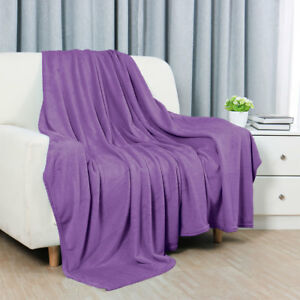 Bed Sofa Warm Plush Couch Throws Blanket Soft Dark Purple Full Size