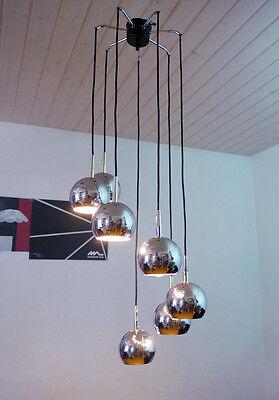 Space Age chrome globe CASCADE LIGHTING Pendant Lamp Germany 1970s