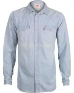 8a530308 Levis Barstow Western Long-Sleeve Denim Men's Shirt Size Medium M ...