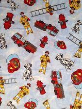 MD04 Fireman Fire Fighter Fire Truck Dalmation Cotton Fabric Quilt Fabric