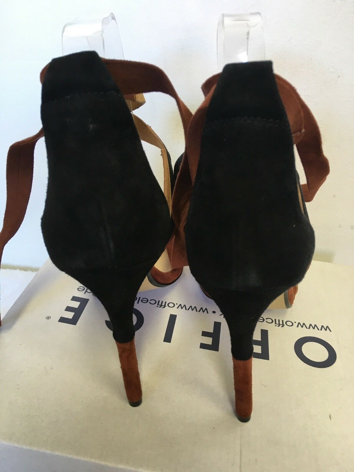 BRAND BROWN NEW IN BOX OFFICE BROWN BRAND & BLACK SUEDE TIE ANKLE HEEL SANDALS SIZE 5/38 f71ac9