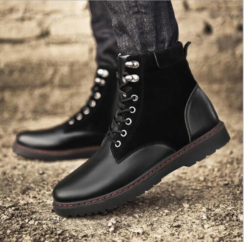 Men/'s Bout rond lacets Block Robe Décontractée En Cuir Synthétique Sports Haut Top Chaussures