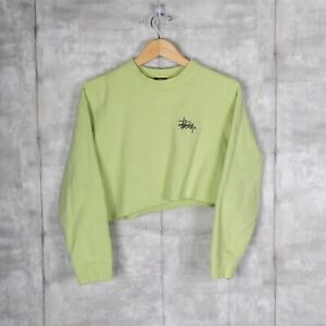 Stussy Crop Top Vintage Womens Sweatshirt Crewneck Size Medium Green Streetwear