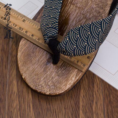 Mens Summer Japanese Geta Clogs Flip Flops Thong Sandals Wooden Slippers Shoes