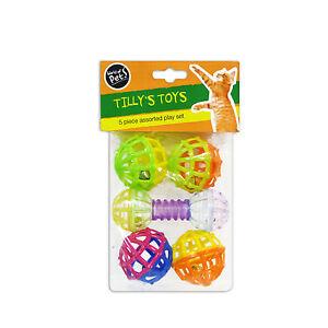 """""""tilly's Toys"""" 5 Piece Assortis Lot Jeu Pour Chat & Chaton Par Monde Des Animaux De Compagnie-afficher Le Titre D'origine Construction Robuste"""