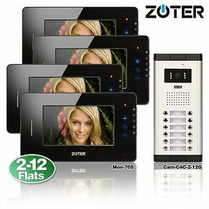 7 Quot Lcd Touch Key Video Door Bell Phone Multi Family
