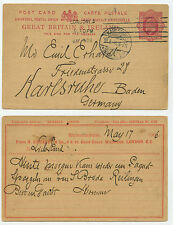 13801 - Ganzsache - Postkarte - London 17.5.1906 nach Karlsruhe - Spargel