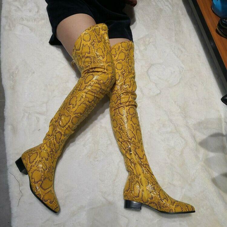 Vogue donna Snakeskin Thigh High stivali Pointy Toe Chunky Heels scarpe Sexy 2019