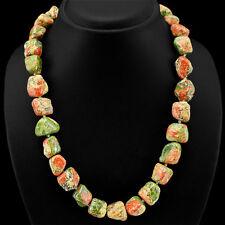 Natural Unakite Gemstone Green Beads Women Necklace Jewellery