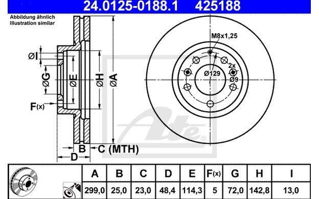 ATE Juego de 2 discos freno Antes 299mm ventilado para MAZDA 6 24.0125-0188.1