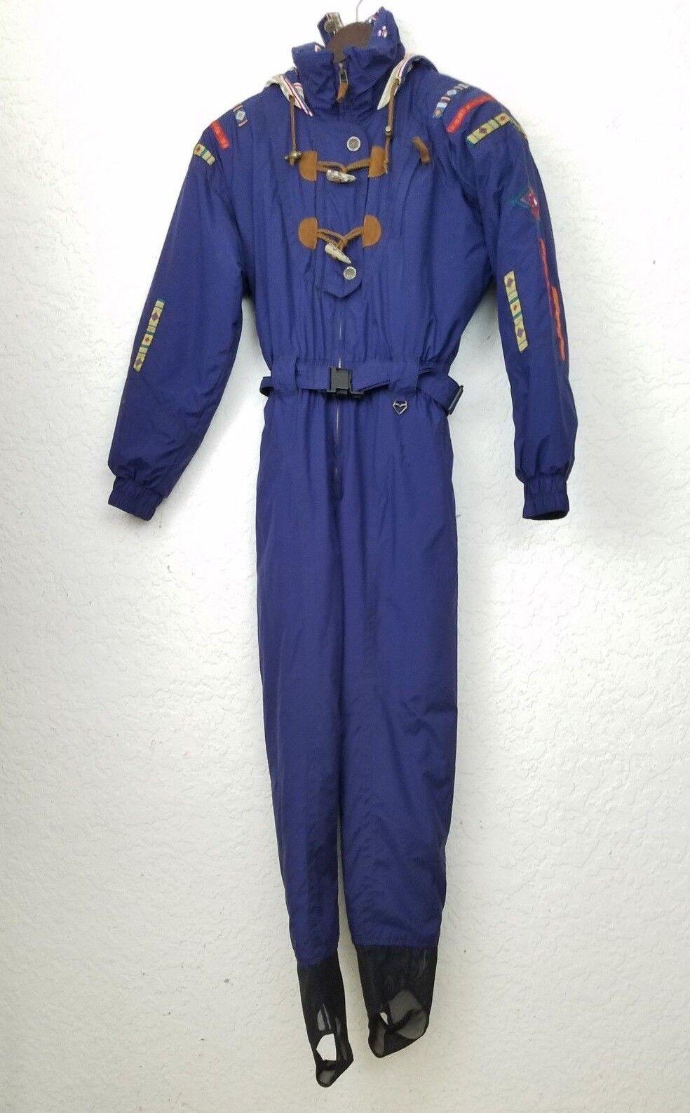 Obermeyer women ski  suit size ladies 4 snowsuit bluee hood belt zip long sleeves  clients first reputation first