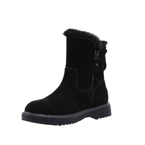 Womens Casual Side Zip Round Toe Flat Bootie Winter Warm Faux Suede Snow Boots
