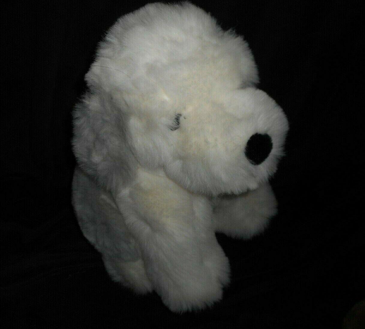 VINTAGE LORD & TAYLOR Weiß & grau SITTING PUPPY DOG STUFFED ANIMAL PLUSH TOY