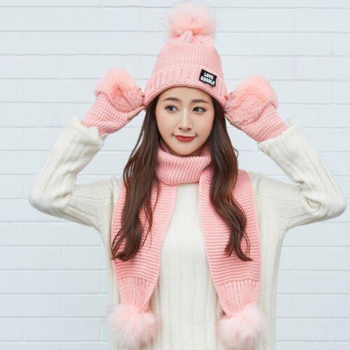 Fashion Women Warm Winter Knit Plus Cotton Hat Scarf Gloves Suit Set Beanie Cap