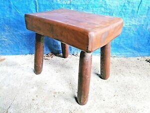 Table tabouret bois massif era Charlotte Perriand vintage brutalisme brutaliste