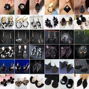 NEW-Handmade-Black-Resin-Crystal-Earrings-Tassel-Drop-Dangle-Wedding-Party-Gifts