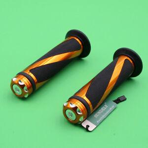 Hot-7-8-034-22mm-Motorcycle-Motorbikes-Rubber-Gel-Handlebar-Hand-Grips-Gold-Handle