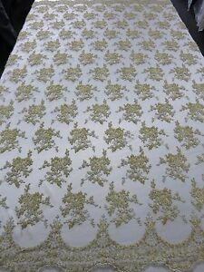 ... Bridal-Floral-Mesh-w-Embroidery-Beaded-Lace-Fabric-50-Sold-by-the-yard