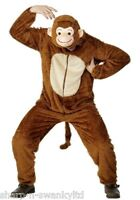 Mens Monkey Zoo Jungle Animal Onesie Jumpsuit Stag Do Fancy Dress Costume Outfit
