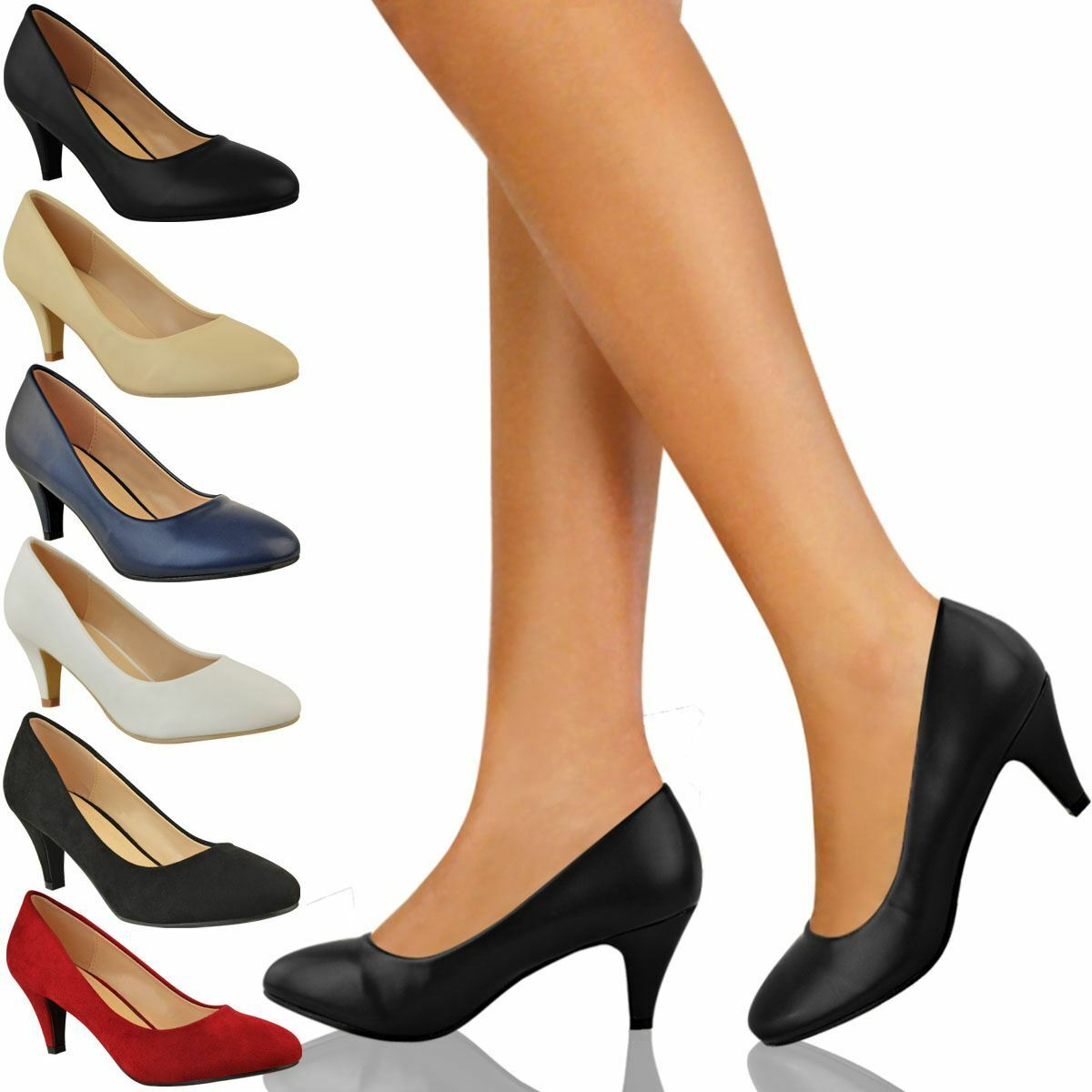 Moda jest prosta i niedroga Womens Ladies Low Heel Court Shoes Comfort Work Office Formal Wedding Size New
