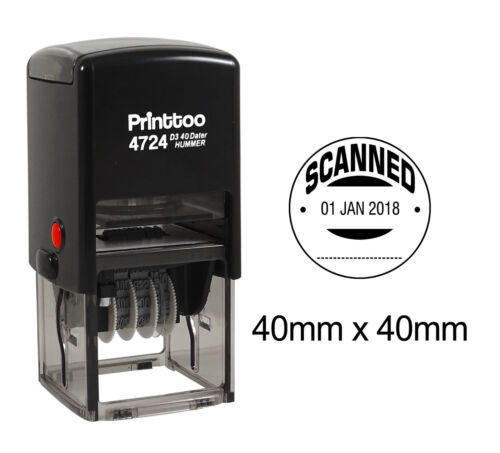 Printtoo Round Office  Dater Stamp With Scanned Text Date Self Ink-PR4724-143