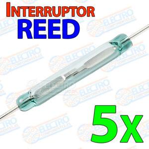 5x-Interruptor-Reed-switch-magnetico-abierto-NO-open-14x2-lengueta-cristal-glass